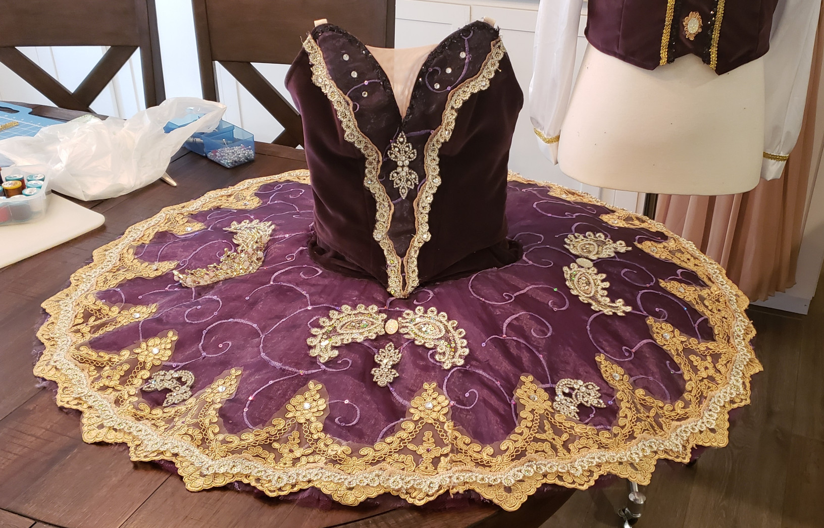 Purple and gold ballerina costume